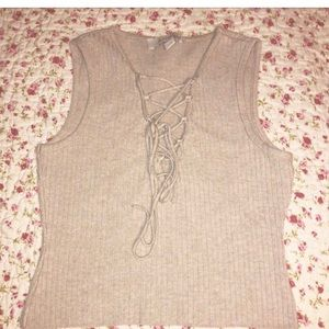 Nude Rib Knit Crop